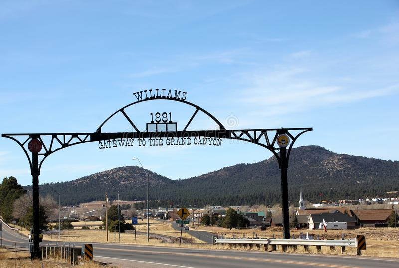 Williams Arizona City Sign. Metal sign at the entrance of the city of Williams, Arizona. Established in 1881, Williams is the gateway to the Grand Canyon, with stock photos