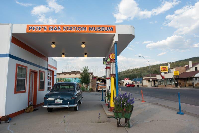 Williams, Arizona. Williams, Arizona: June 20, 2017: Pete`s Gas Station Museum and street scene in Williams, Arizona. Williams is on world famous `Route 66` and stock photo
