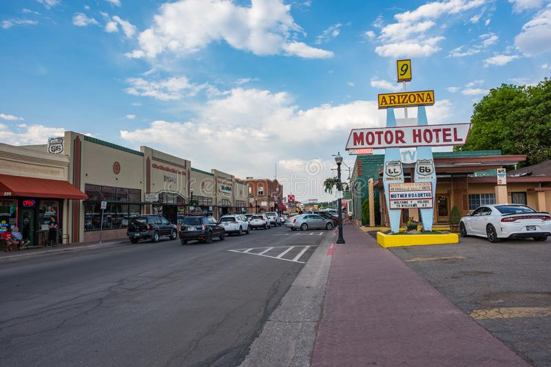 Route 66 in Williams, Arizona. Williams, Arizona: June 20, 2017: Small town of Williams, Arizona. Williams is on world famous `Route 66` and is also known as royalty free stock photography