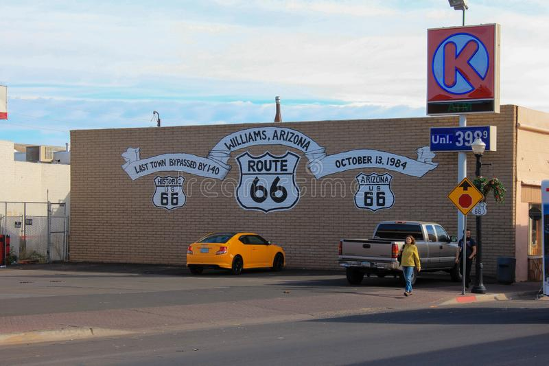 Williams, Arizona / USA - October 06 2012: View of Route 66 symbol over a building wall. In Williams, Arizona, USA royalty free stock photography