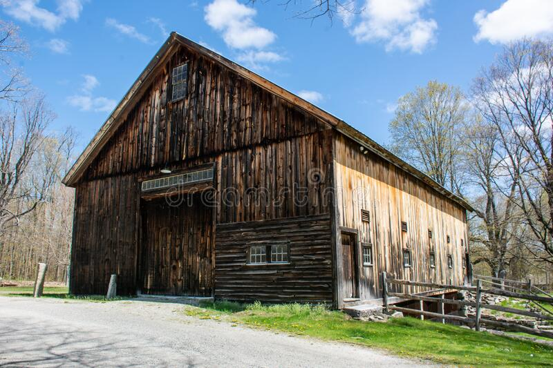 Williams Barn looking beautiful on an early spring day under bright blue skies stock photo