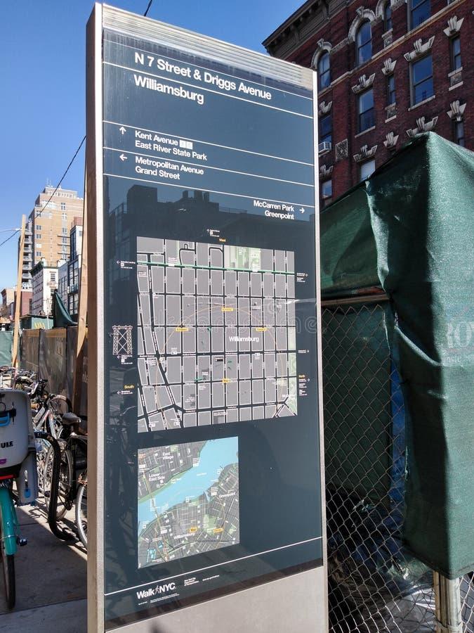 Williamsburg, Μπρούκλιν, NYC, Νέα Υόρκη, ΗΠΑ, χάρτης στοκ φωτογραφία