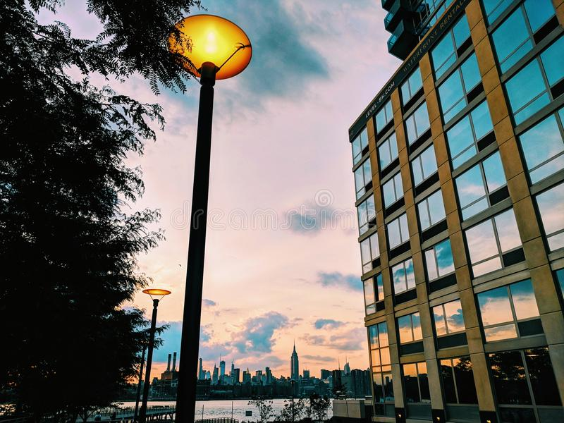 Williamsburg sunset royalty free stock images