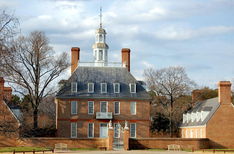 Williamsburg, VA: Governor's Palace. The opulent Georgian style 18th century Governor's Palace in with a two story hexagonal windowed cupola in Colonial stock photo