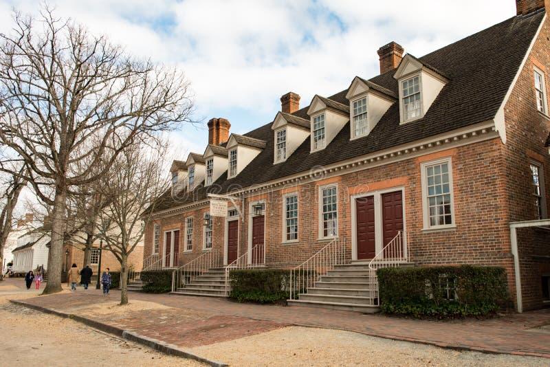Williamsburg, Virgínia - 26 de março de 2018: Casas e construções históricas em Williamsburg Virgínia imagem de stock