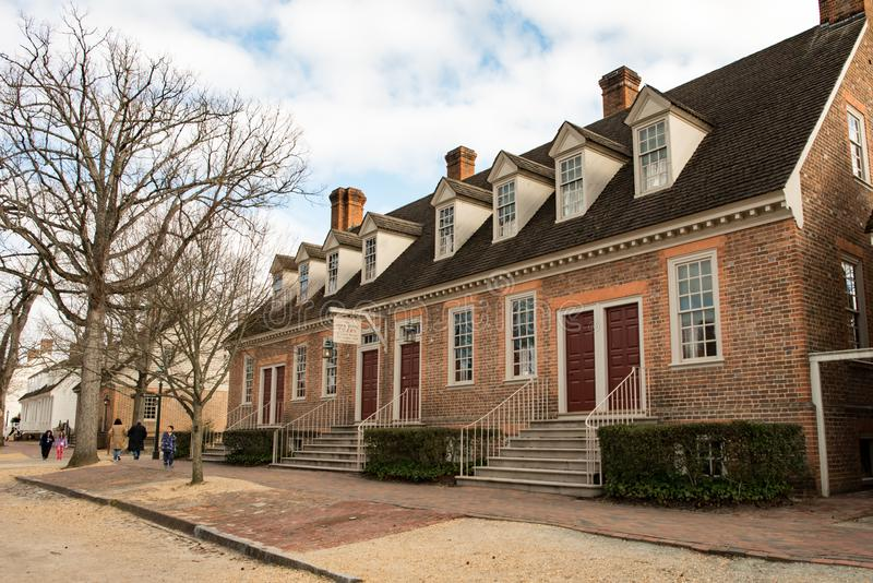Williamsburg, Virginia - Maart 26, 2018: Historische huizen en gebouwen in Williamsburg Virginia stock afbeelding