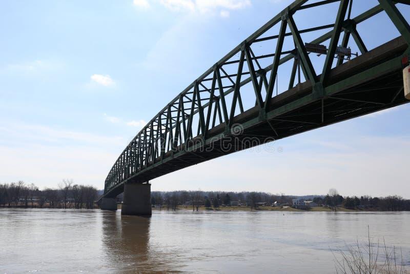 Williamstown Bridge in Marietta. Williamstown Bridge over the Ohio River between Williamstown, West Virginia and Marietta royalty free stock image