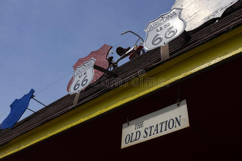 Detail of The Old Service Station along the historic route 66 in Williamsville. Williamsville, Illinois, USA - July 5, 2014: Detail of The Old Service Station royalty free stock image