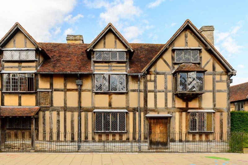 Willian Shakespeare Birthplace Stratford på Avon, England, enhet royaltyfri bild