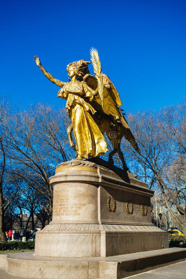 Willian Tecumseh Serman Statue in Central Park. The sculpture of General William Tecumseh Sherman is one of the finest sculptures by the talented American stock photography