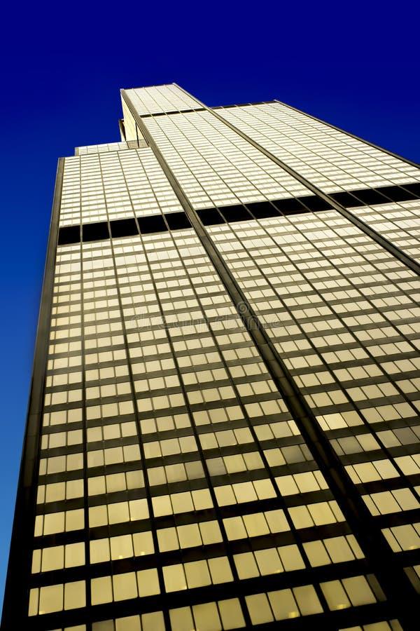 Willis Tower na área do laço, fachada ocidental, Chicago foto de stock