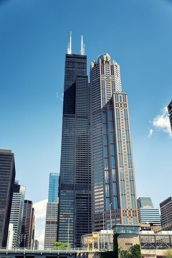 Willis Tower som är bekant som Searset Tower royaltyfria bilder