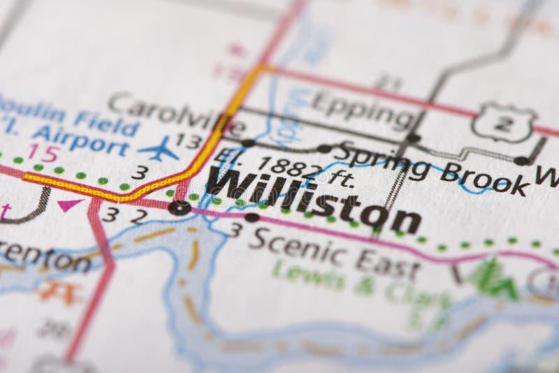 Williston North Dakota på översikt royaltyfri bild