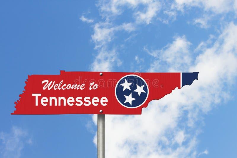Willkommen auf dem Schild der Bundesstraße Tennessee in Form der Staatskarte mit der Flagge stockfotos