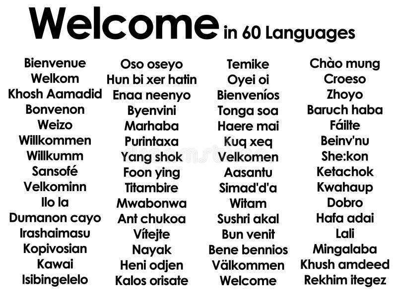 Willkommen in den Lots von 60 verschiedenen Sprachen vektor abbildung