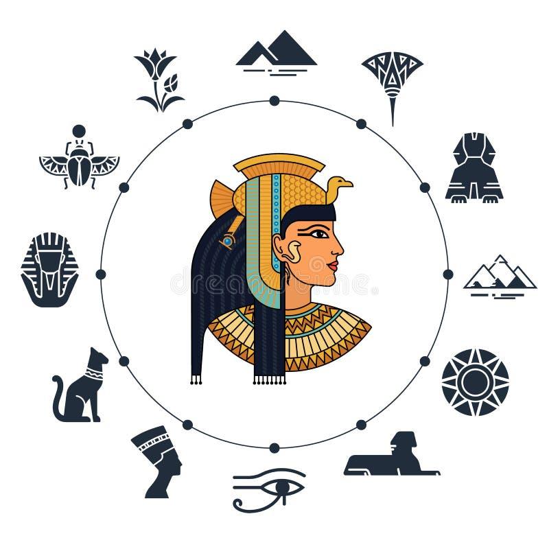Willkommen nach Ägypten Symbole von Ägypten Tourismus und Abenteuer Vektorillustration und Ikonensatz lizenzfreie abbildung