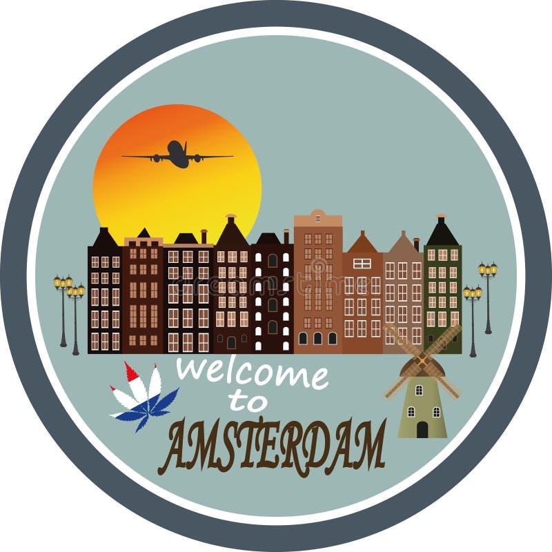 Willkommen nach Amsterdam - Weinlesegrußkarte lizenzfreie abbildung