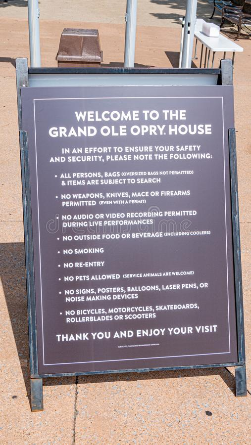 Willkommen nach den großartigen Ole Opry House - das NASHVILLE, USA - 15. JUNI 2019 lizenzfreies stockbild