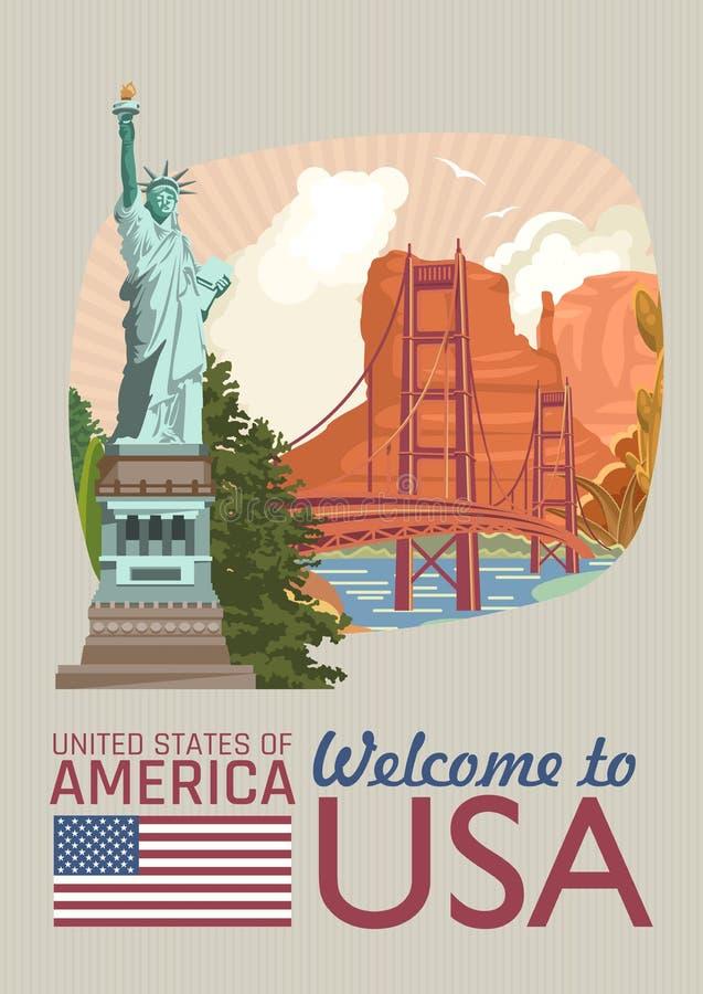 willkommen nach usa plakat der vereinigten staaten von amerika mit amerikanischen besichtigungen in der weinleseart vektorillustr