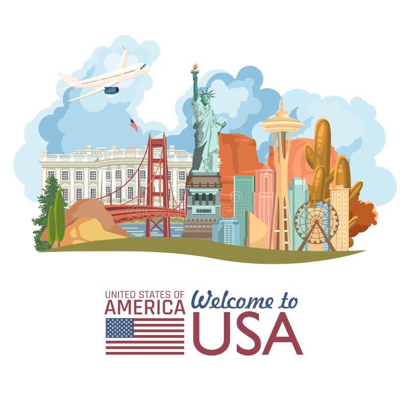Willkommen nach USA Plakat der Vereinigten Staaten von Amerika mit Freiheitsstatuen und US-Flagge Vektorillustration über Reise lizenzfreie abbildung