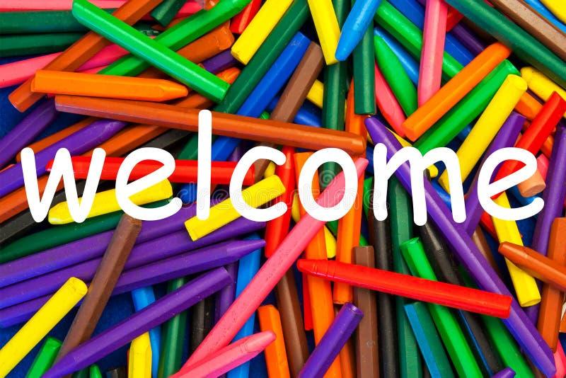 Willkommen. Zeichen. Lehrmittel u. Ressource. lizenzfreie stockfotos