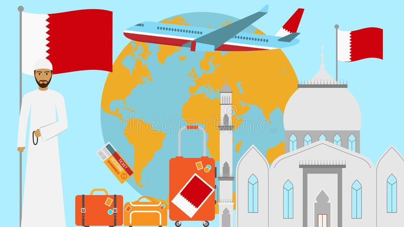 Willkommen zu Bahrain-Postkarte Reise- und Reisekonzept der islamischen Landvektorillustration mit Staatsflagge von Bahrain lizenzfreie abbildung