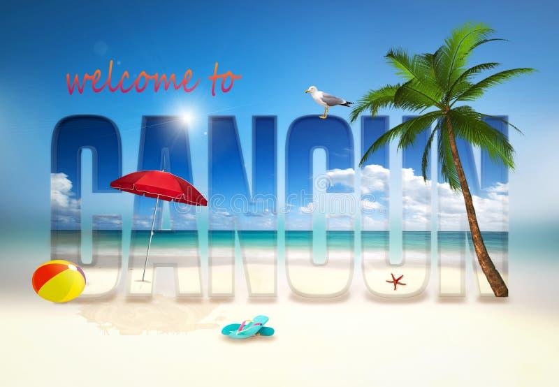 Willkommen zu Cancun-Illustration lizenzfreie stockfotos