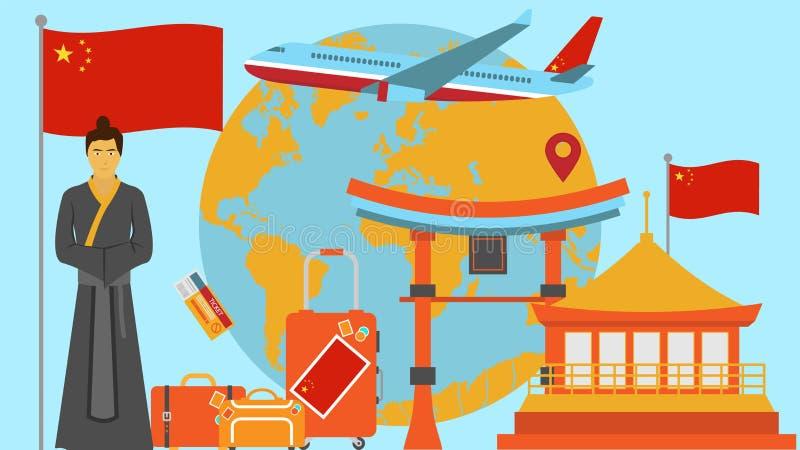 Willkommen zu China-Postkarte Reise- und Safarikonzept der Asien-Weltkartevektorillustration mit Staatsflagge lizenzfreie abbildung
