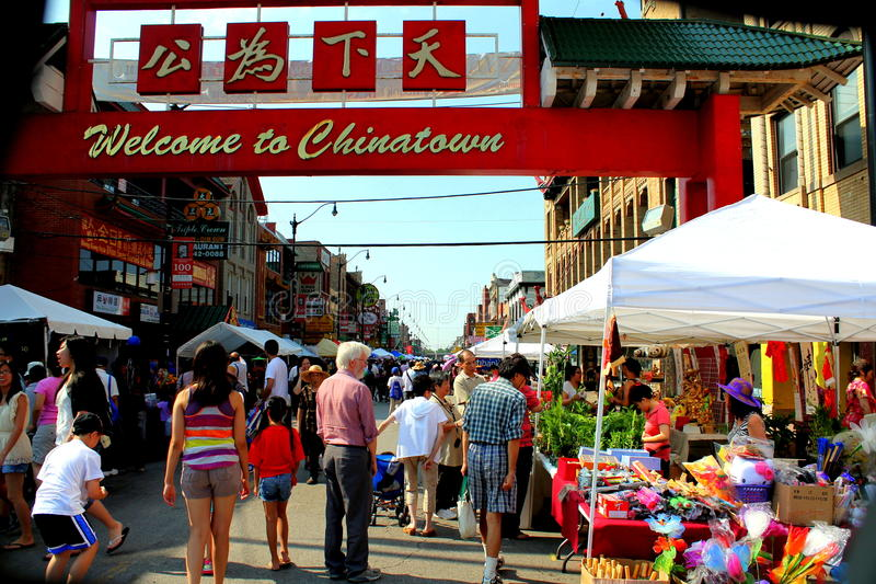 Willkommen zu Chinatown CHICAGO, ILLINOIS Juli 2012 lizenzfreie stockfotos