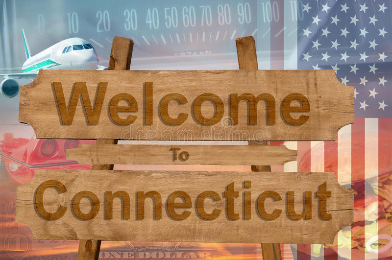 Willkommen zu Connecticut in USA unterzeichnen auf Holz, travell Thema lizenzfreie stockbilder