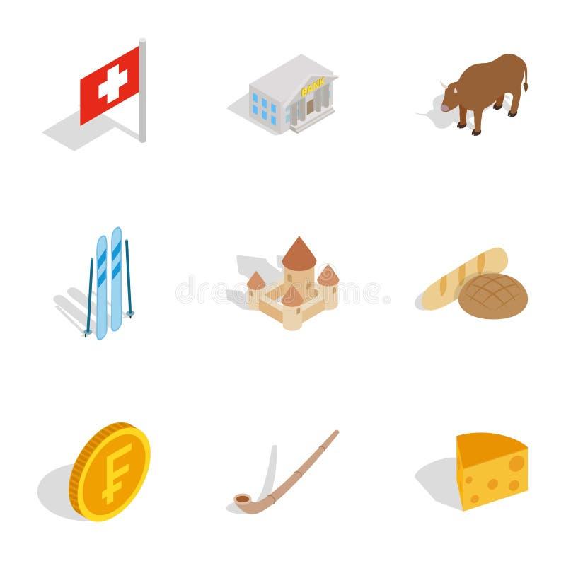 Willkommen zu die Schweiz-Ikonen eingestellt lizenzfreie abbildung