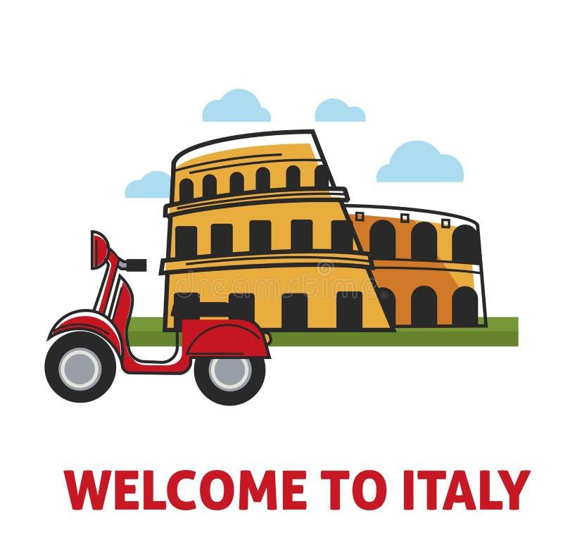 Willkommen zu fördernder Fahne Italiens mit berühmtem Kolosseum und Moped lizenzfreie abbildung