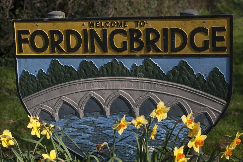 Willkommen zu Fordingbridge-Zeichen lizenzfreie stockfotos