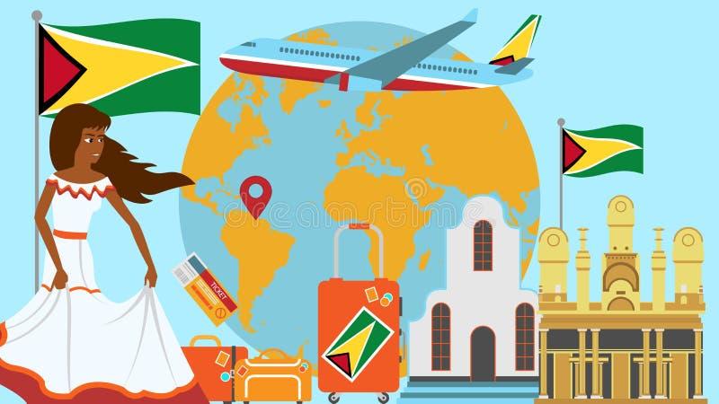 Willkommen zu Guyana-Postkarte Reise- und Reisekonzept der Latinosland-Vektorillustration mit Staatsflagge von Guyana stock abbildung