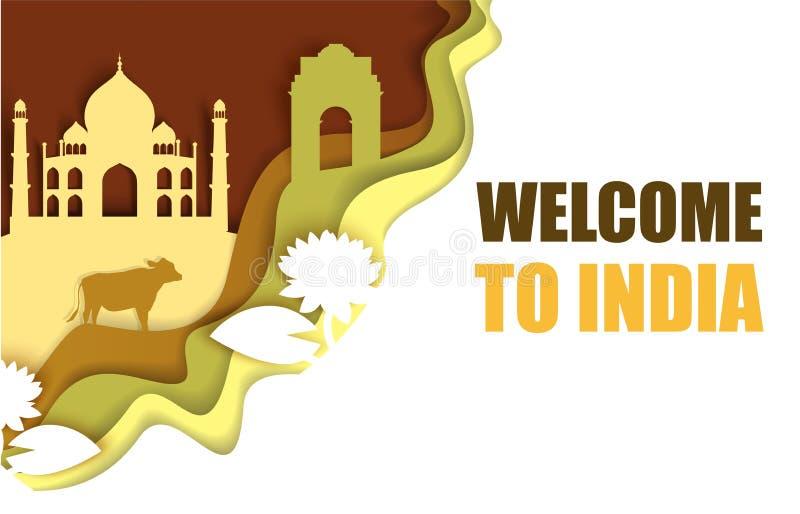 Willkommen zu Indien-Plakat, Vektorpapier-Schnittillustration lizenzfreie abbildung