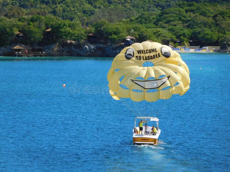 Willkommen zu Labadee-Segel stockfoto