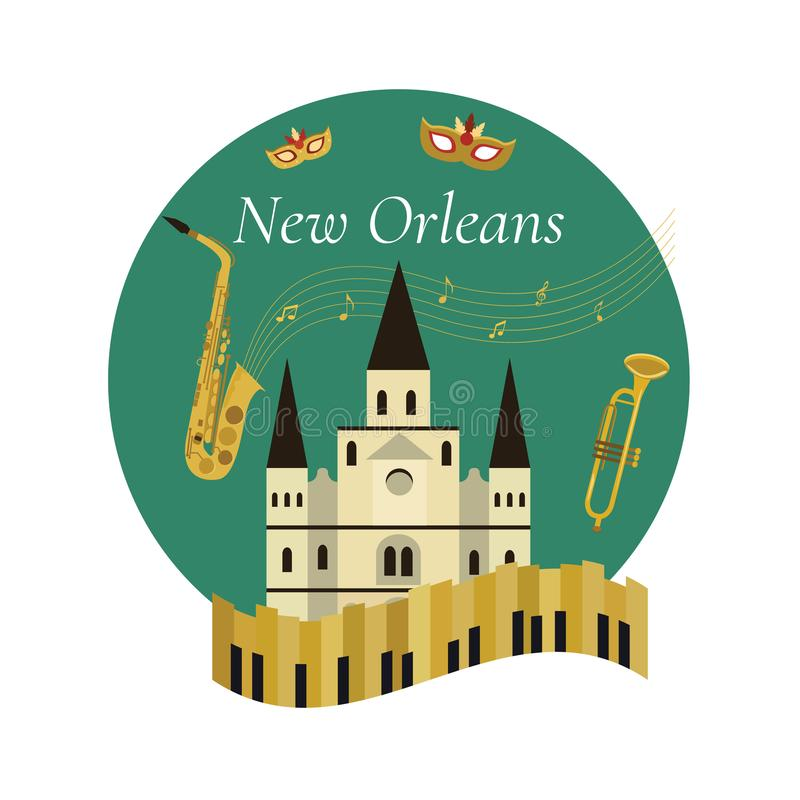 Willkommen zu New- Orleansplakat mit berühmten Symbolen lizenzfreie abbildung