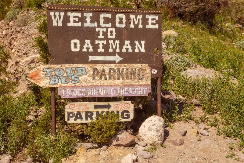 Willkommen zu Oatman Arizona stockfoto