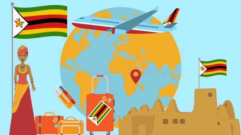 Willkommen zu Simbabwe-Postkarte Reise- und Safarikonzept der Afrika-Weltkartevektorillustration mit Staatsflaggewillkommen vektor abbildung