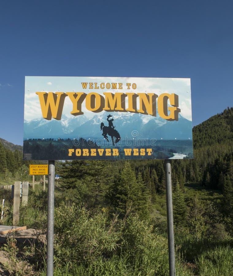 Willkommen zu Wyoming-Zeichen lizenzfreie stockbilder