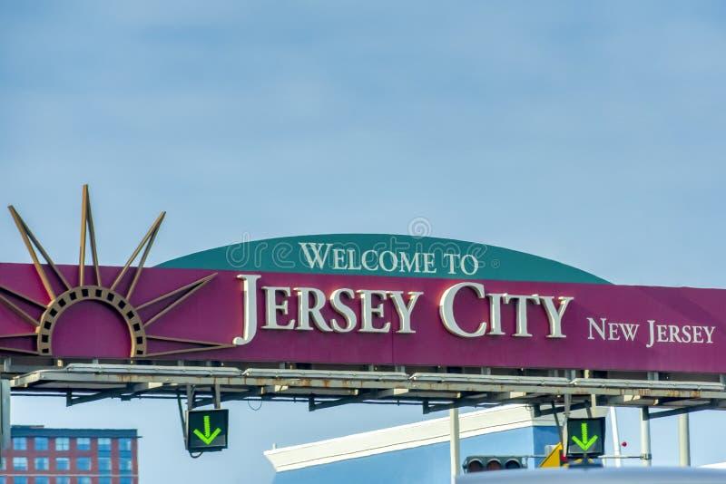 Willkommen zu Zeichen Jersey Citys New-Jersey stockfotos