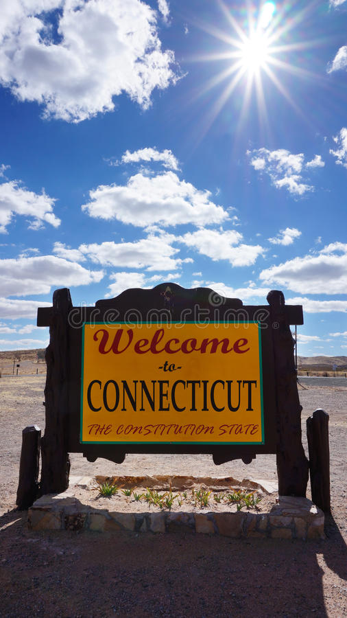 Willkommen zum Connecticut-Staatskonzept stockfoto