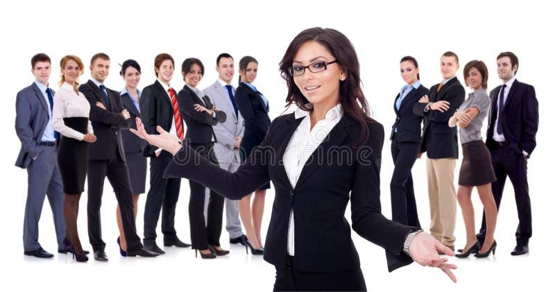 Willkommen zum erfolgreichen glücklichen Geschäftsteam lizenzfreies stockbild