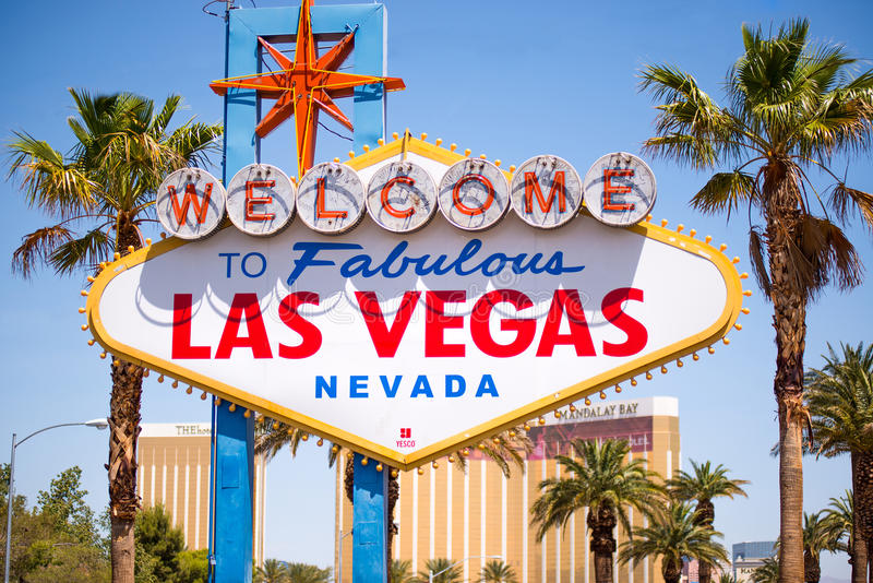 Willkommen zum Las- Vegaszeichen stockfotos