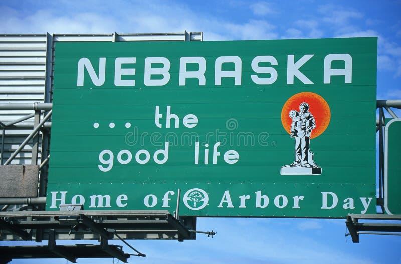 Willkommen zum Nebraska-Zeichen stockbild