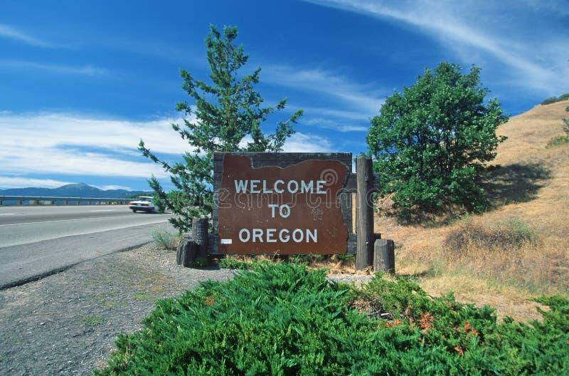 Willkommen zum Oregon-Zeichen stockfotos