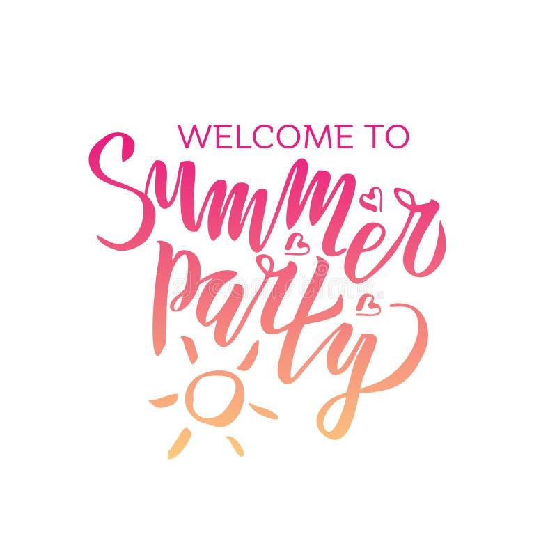Willkommen zum Sommerfest, das handgeschriebene Kalligraphie der Steigung beschriftet, b?rsten gemalte Buchstaben auf wei?em Hint lizenzfreie abbildung