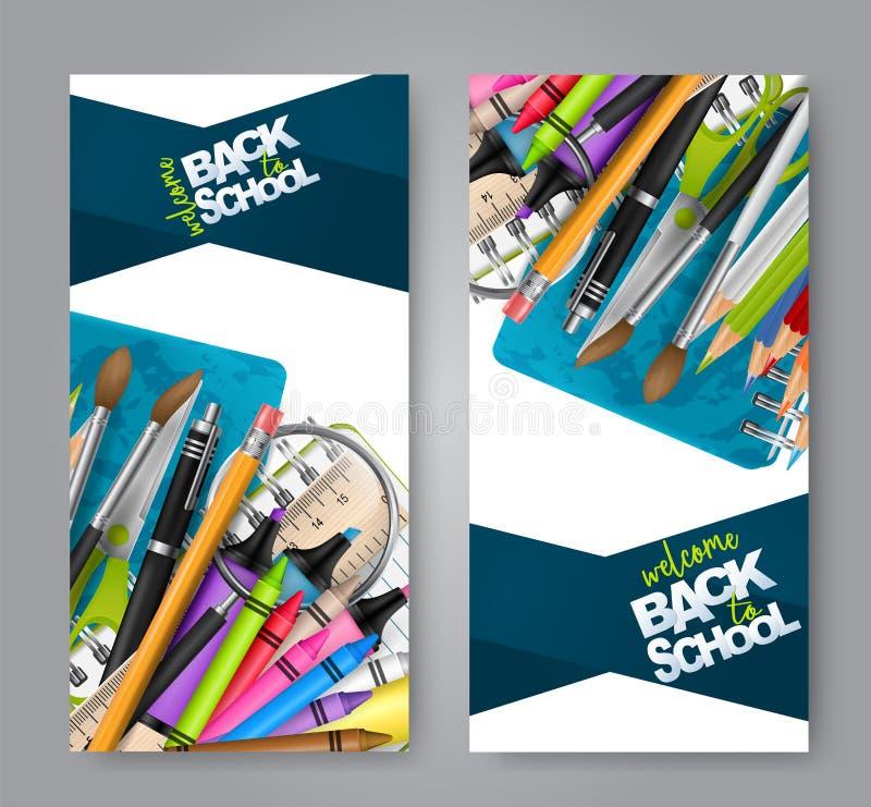 Willkommen zurück zu dem Schulbroschürenflieger eingestellt mit realistischen Ausbildungsversorgungen - Bleistift mit errasor, Bü vektor abbildung