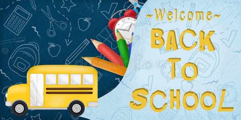 Willkommen zurück zu Schule in einem blauen Hintergrund mit realistics Schulbus und Versorgungen lizenzfreie abbildung