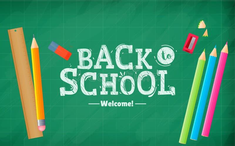 Willkommen zurück zu Schule Kalligraphischer Kreidetext auf einem Schulbeschaffenheitsbrett Fahne September-erster vektor abbildung
